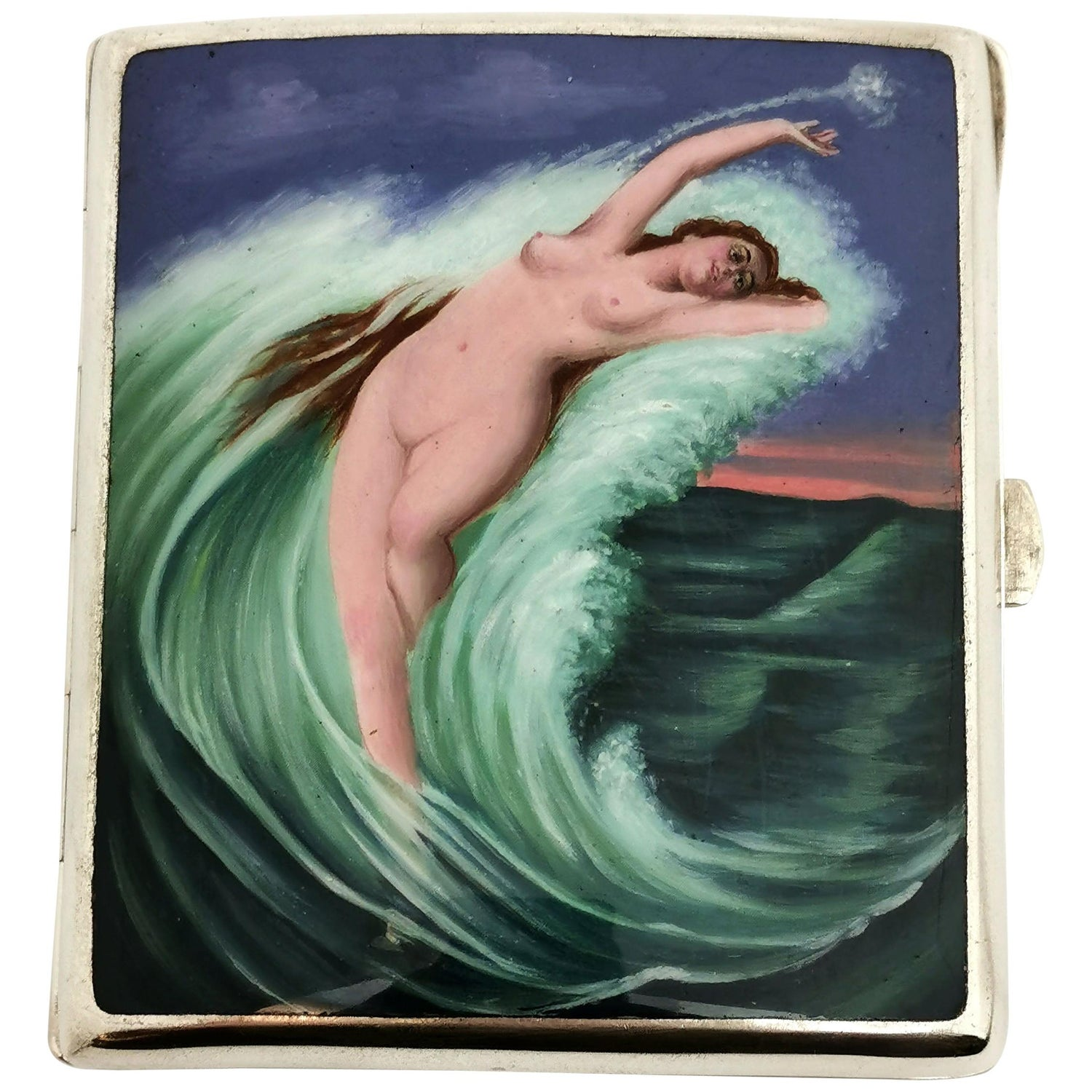 Antique German Silver & Enamel Cigarette Case c 1900 Erotic Nude Sea Ocean