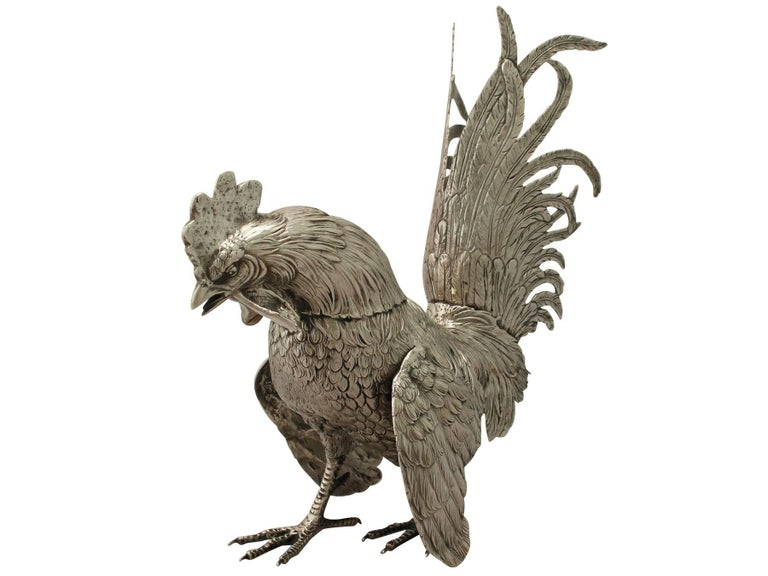 Antique German Silver Fighting Cockerel Ornaments For Sale