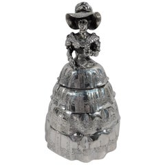 Antique German Silver Figural Old-Fashioned Belle Box
