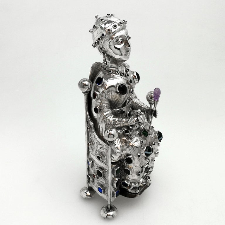 Antique German Silver Figure of Byzantine Style Saint 'Sainte Foy' c 1895 Model In Good Condition For Sale In London, GB