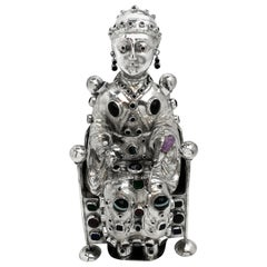 Antique German Silver Figure of Byzantine Style Saint 'Sainte Foy', circa 1895