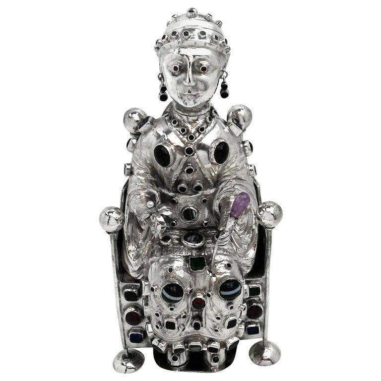 Antique German Silver Figure of Byzantine Style Saint 'Sainte Foy' c 1895 Model For Sale