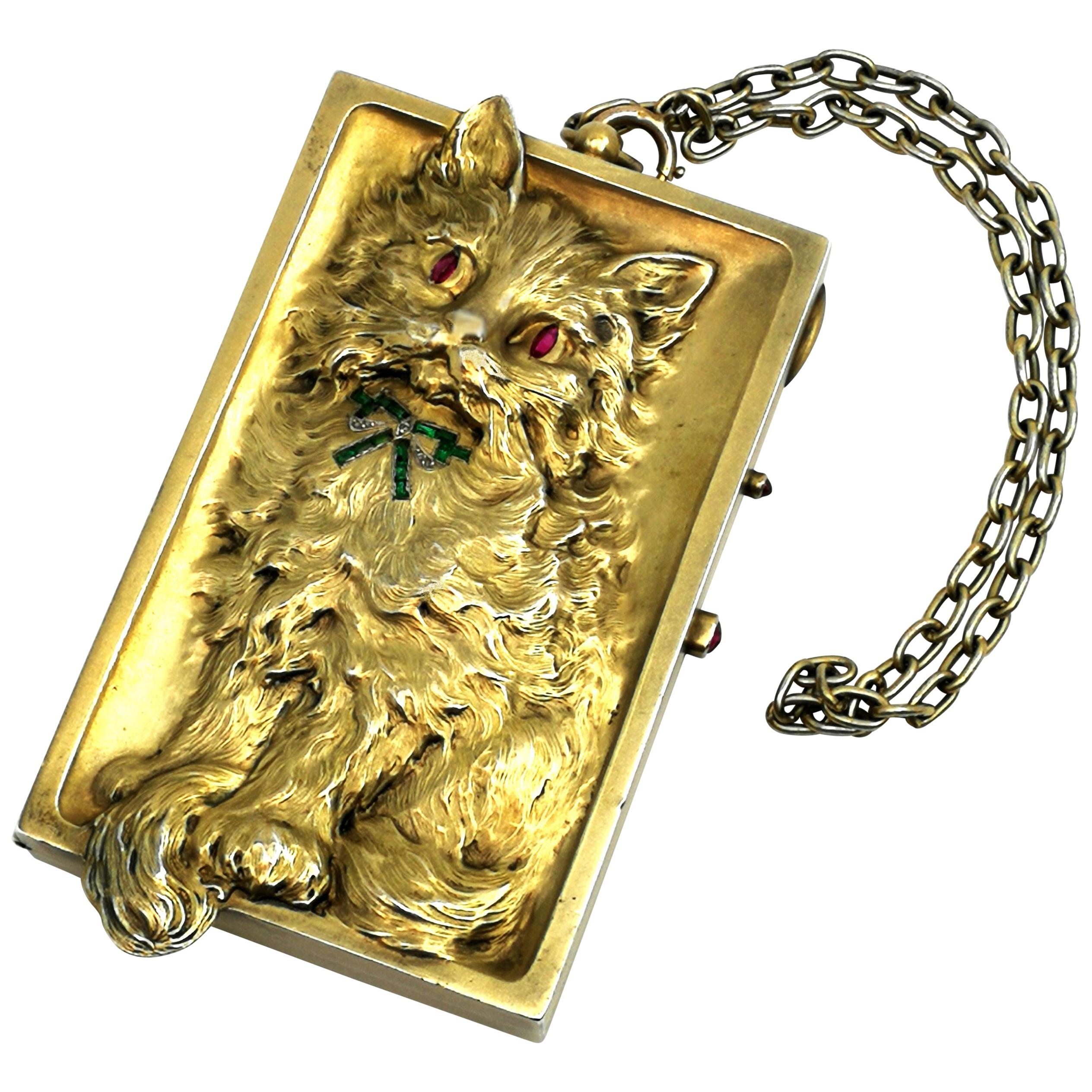 Antique German Silver Gilt Minaudiere / Compact with Ruby Emerald Diamond c 1900