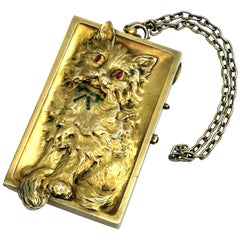 Antique German Silver Gilt Minaudiere / Compact with Ruby Emerald Diamond
