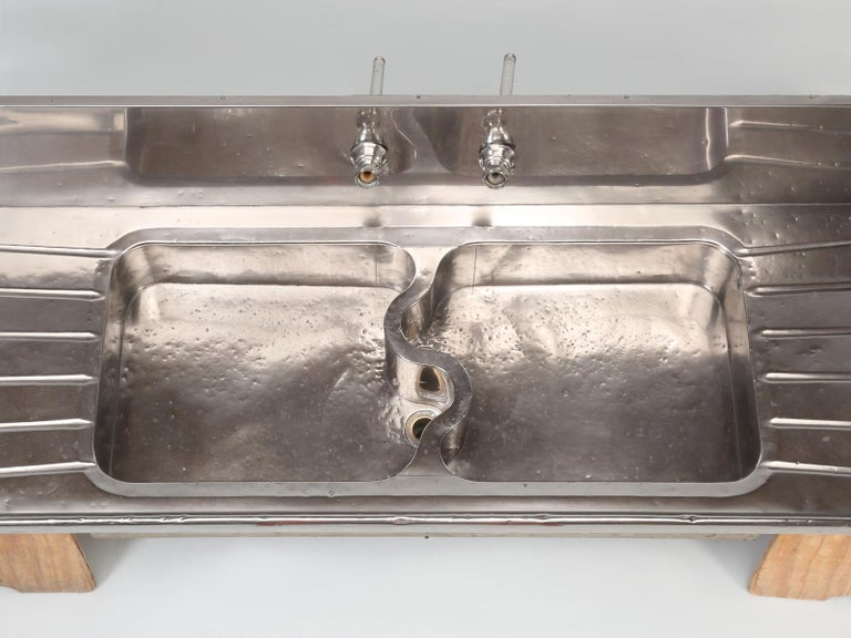 Metal Antique German Silver Kitchen or Bar Sink from Chicago, Early 1900s For Sale