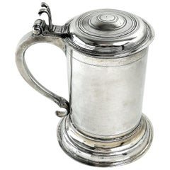 Antique German Silver Lidded Tankard / Beer Mug Berlin c 1700 18th century