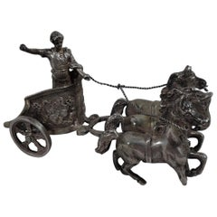 Antique German Silver Miniature Roman Chariot
