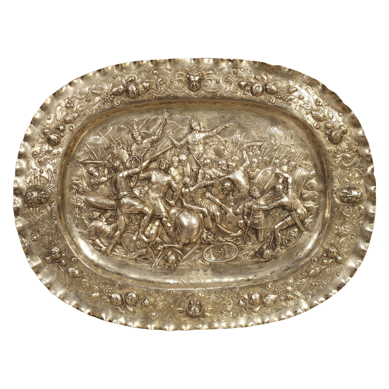 Antique German Silver Repoussé Battle Scene Tray, Circa 1850