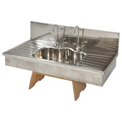 Antique German Silver Sink with Matching Backsplash and Faucets