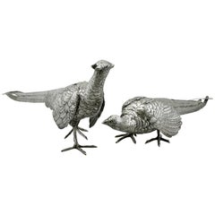 Antique German Silver Table Pheasants, 1870