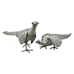 Antique German Silver Table Pheasants 1870