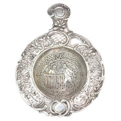 Antique German Silver Tea Strainer Decorated with Lady and Gentleman
