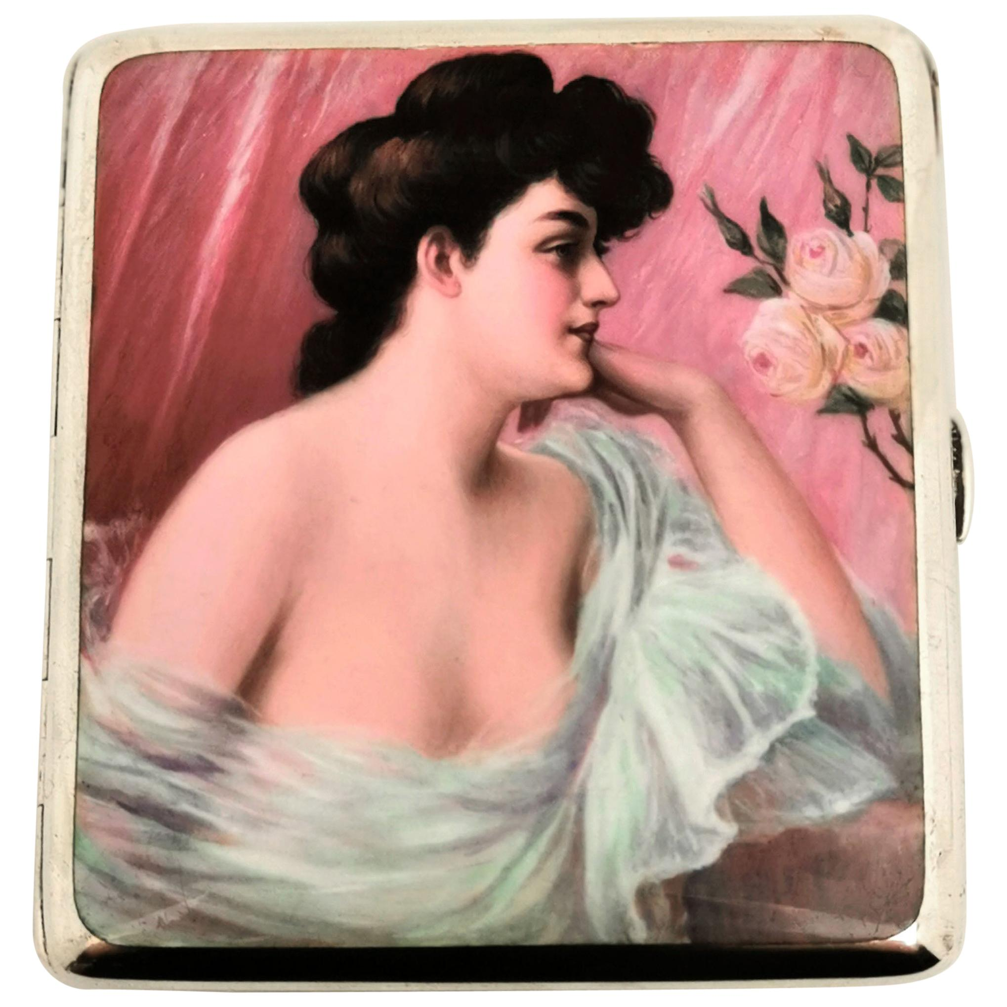 Antique German Solid Silver and Enamel Erotic Cigarette Case c. 1900