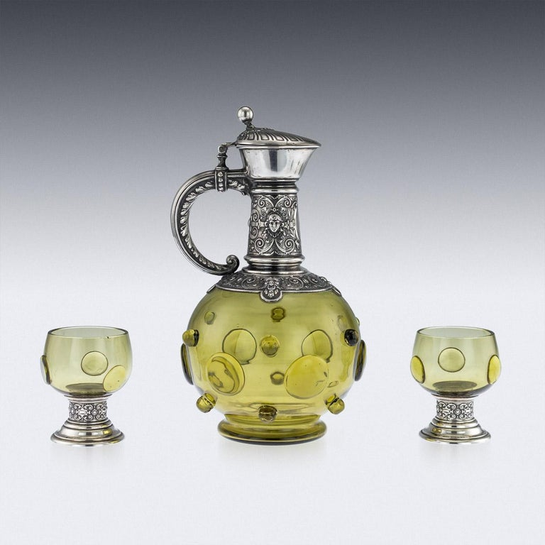 Antique German Solid Silver and Green Glass Claret Jug and Goblets, circa 1890 In Good Condition For Sale In London, GB
