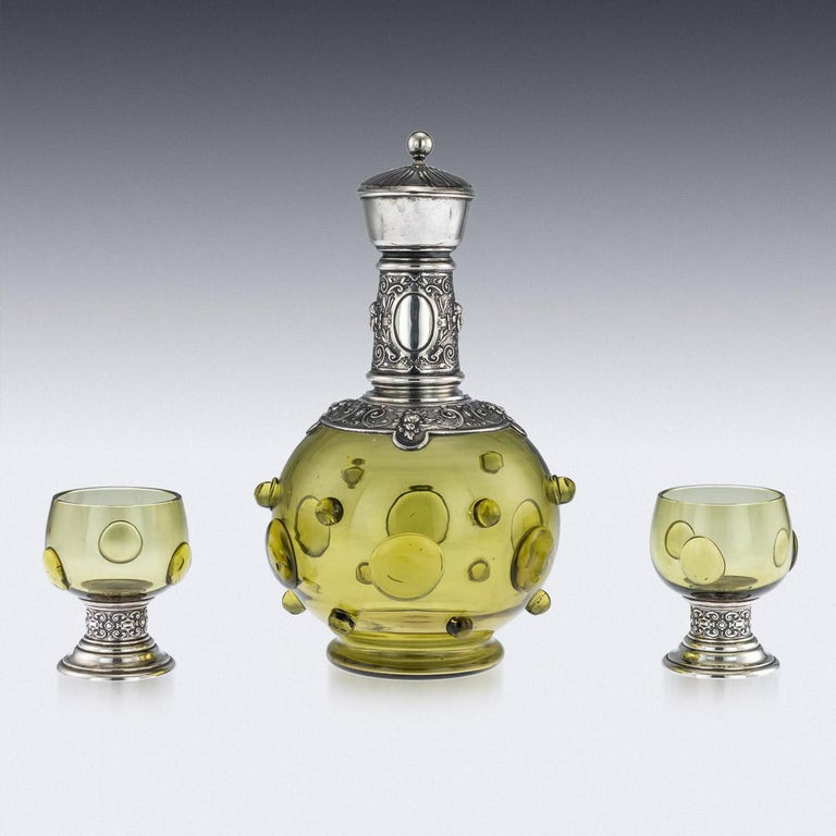 19th Century Antique German Solid Silver and Green Glass Claret Jug and Goblets, circa 1890 For Sale