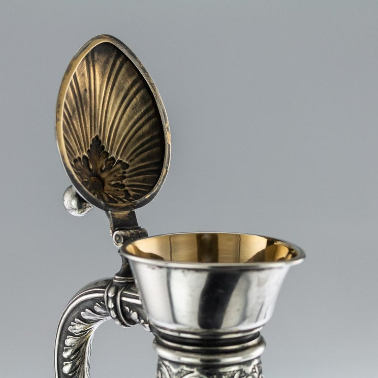 Antique German Solid Silver and Green Glass Claret Jug and Goblets, circa 1890 For Sale 3