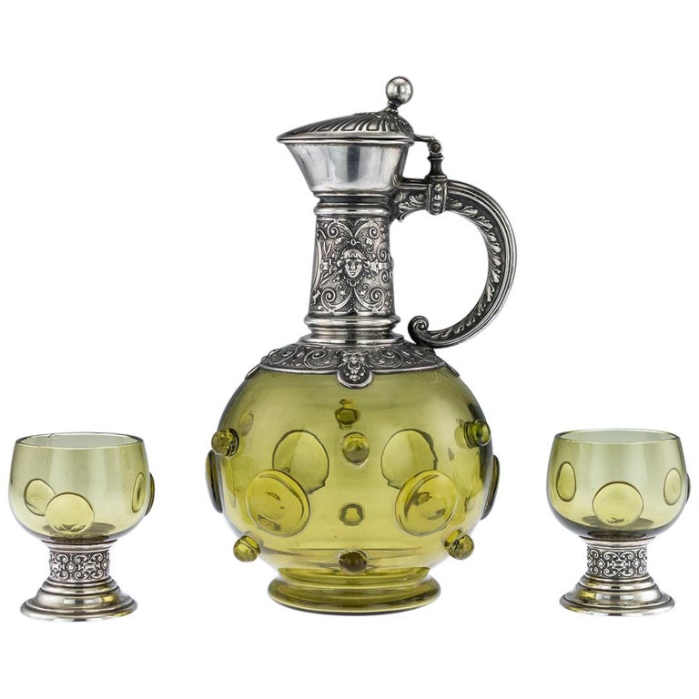 Antique German Solid Silver and Green Glass Claret Jug and Goblets, circa 1890 For Sale
