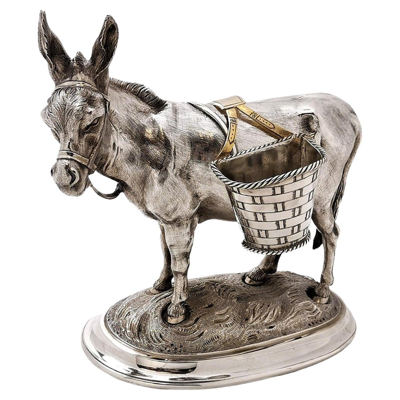 Antique German Solid Silver Donkey Salt pepper Condiment Cruet Model c. 1860