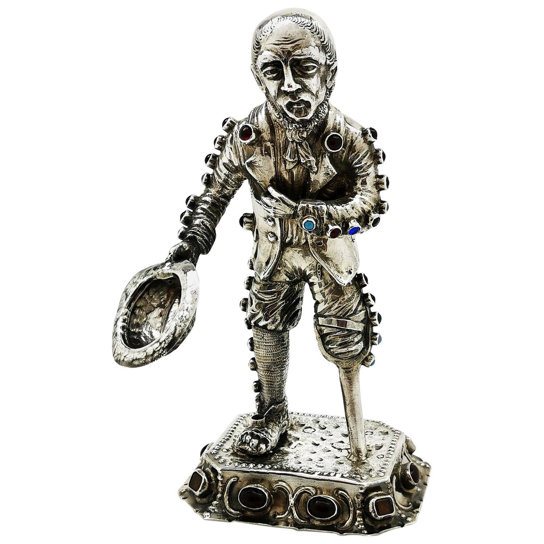 Antique German Solid Silver & Gem Stones Figure Model of a Man circa 1900 Beggar