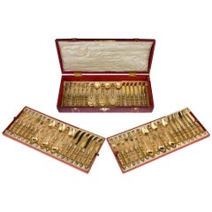 Antique German Solid Silver-Gilt and Moser Glass Cutlery Service, circa 1880