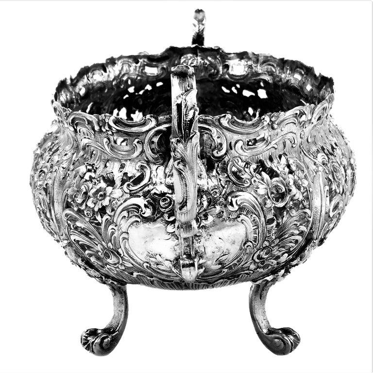 Antique German Solid Silver & Glass Dish / Bowl / Jardinière, c. 1900 For Sale 5