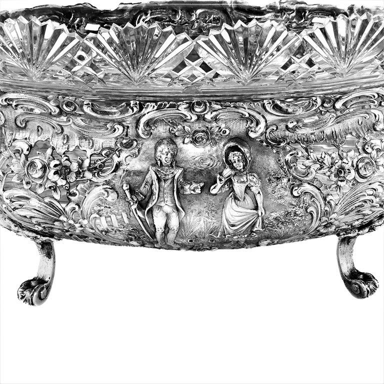 Antique German Solid Silver & Glass Dish / Bowl / Jardinière, c. 1900 For Sale 7