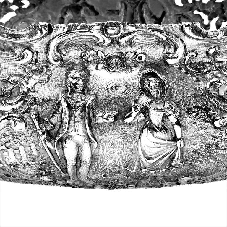 Antique German Solid Silver & Glass Dish / Bowl / Jardinière, c. 1900 For Sale 9