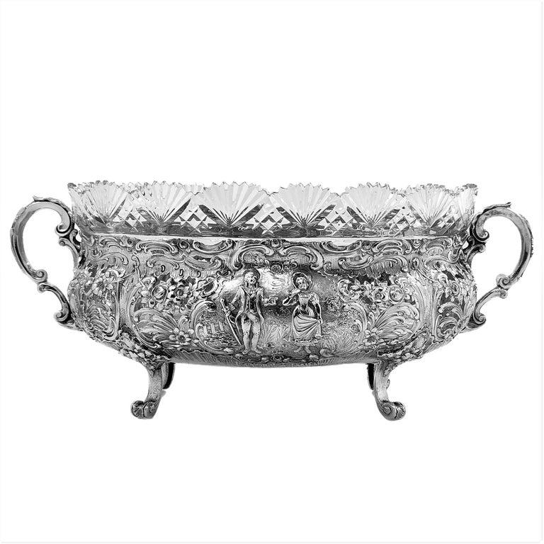 European Antique German Solid Silver & Glass Dish / Bowl / Jardinière, c. 1900 For Sale