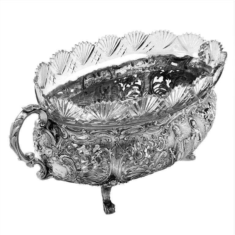 Antique German Solid Silver & Glass Dish / Bowl / Jardinière, c. 1900 In Good Condition For Sale In London, GB