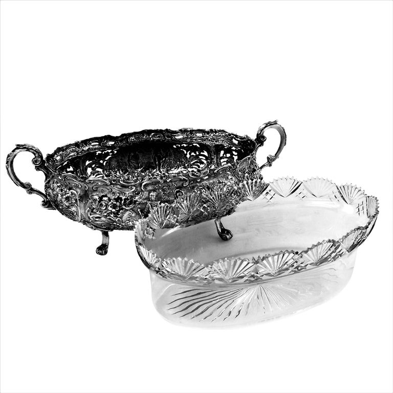 20th Century Antique German Solid Silver & Glass Dish / Bowl / Jardinière, c. 1900 For Sale