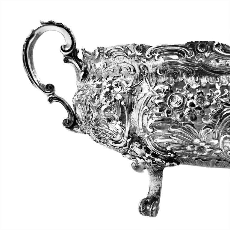 Antique German Solid Silver & Glass Dish / Bowl / Jardinière, c. 1900 For Sale 4