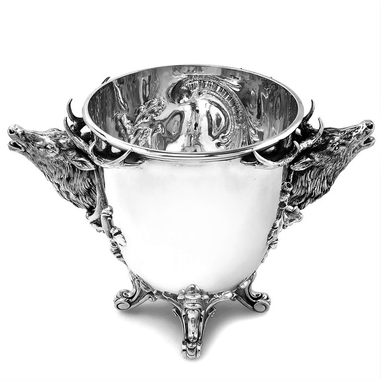 English Antique German Solid Silver Stag Wine Champagne Cooler / Ice Bucket, circa 1890