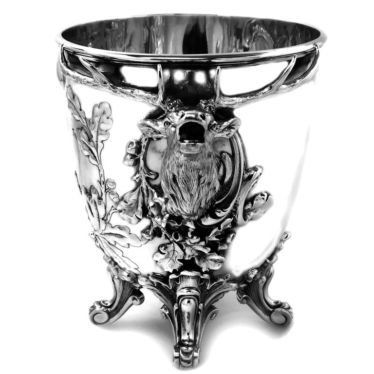 Antique German Solid Silver Stag Wine Champagne Cooler / Ice Bucket, circa 1890 In Good Condition In London, GB