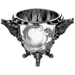 Antique German Solid Silver Stag Wine Champagne Cooler / Ice Bucket, circa 1890