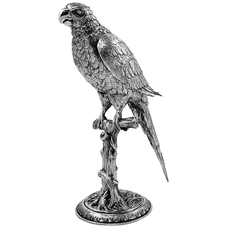 Antique German Sterling Silver Parrot Bird Model Figurine Statue, c. 1920