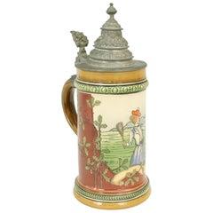 Antique German Tennis Beer Stein with Pewter Lid