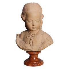 Antique German Terracotta Young Beethoven Portrait Bust, circa 1880
