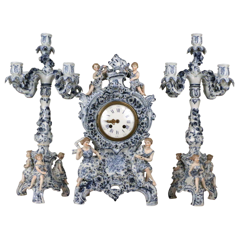 Antique German Three Piece Porcelain Clock Garniture