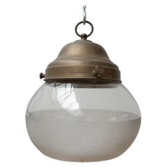Antique German Two Tone Glass and Brass Pendant Light