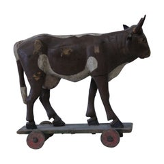 Antique German Wooden Cow Pull-Toy