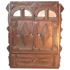 Antique Germany Chip Hand Carved Wall Cupboard Cabinet Tramp Folk Art 1880s