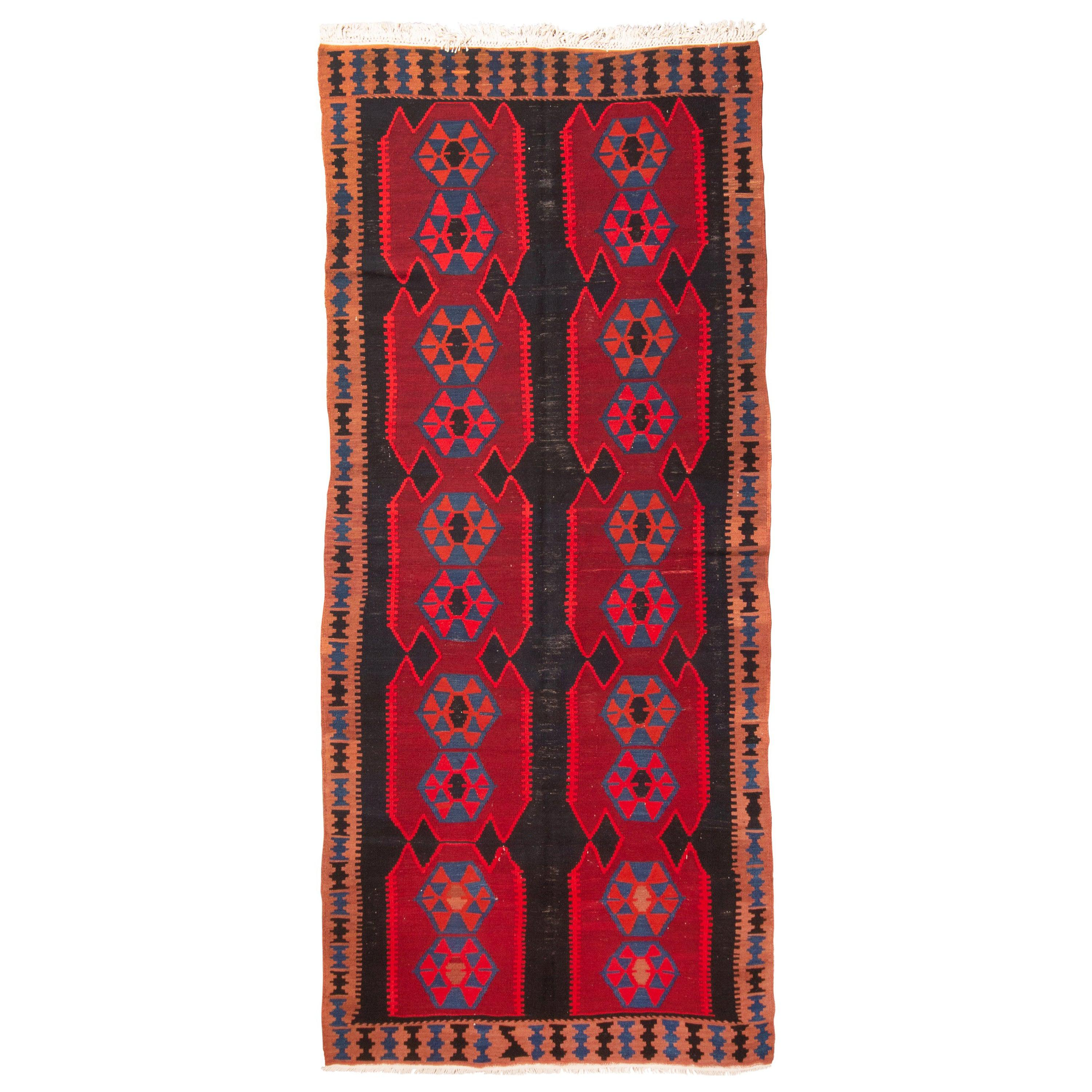 Antique Ghazvin Red and Blue Persian Wool Kilim Rug