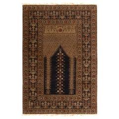 Antique Ghiordes Rug Beige-Brown and Black Geometric Floral Mihrab Pattern