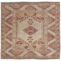 Antique Ghiordes Rug, Handmade Turkish Oriental Rug, Beige, Taupe
