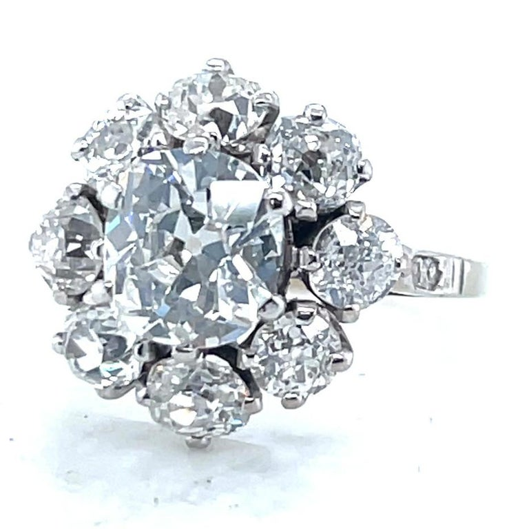 Victorian Antique GIA 1.53 Carat Old Mine Cut Diamond White Gold Cluster Ring For Sale