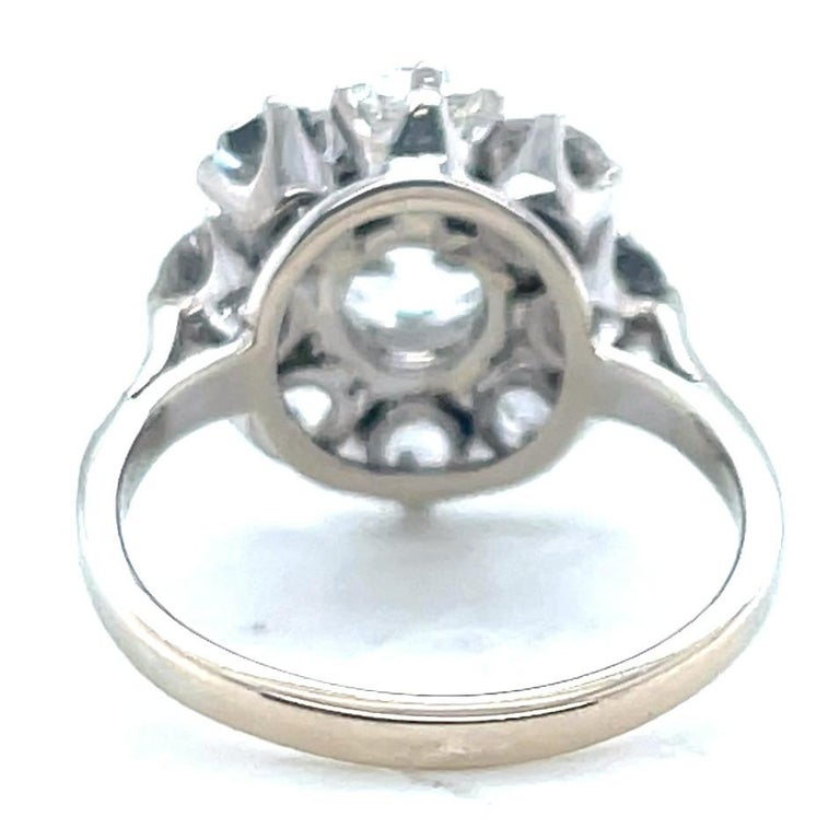 Women's or Men's Antique GIA 1.53 Carat Old Mine Cut Diamond White Gold Cluster Ring For Sale