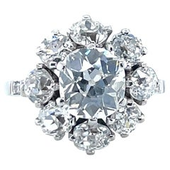 Antique GIA 1.53 Carat Old Mine Cut Diamond White Gold Cluster Ring