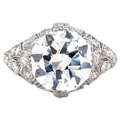 Antique GIA 3.65 Carat Old European Cut Diamond Platinum Engagement Ring