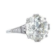 Antique GIA 5.68ct Old European Cut Diamond Engagement Ring Platinum