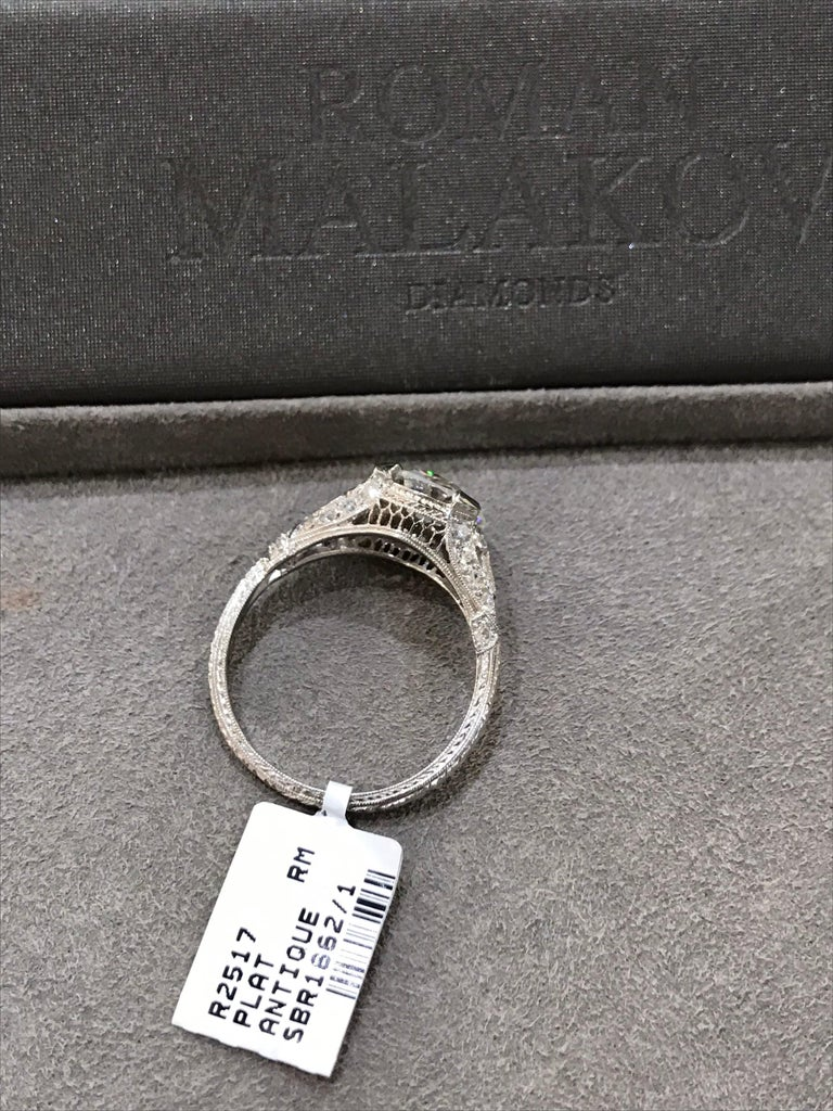 Antique GIA Certified Diamond Platinum Ring For Sale 2